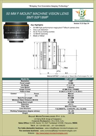 BALAJI OPTICS   LARGE FORMAT F-MOUNT LENSES   MACHINE VISION   INDIA