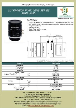 BALAJI OPTICS | LARGE FORMAT F-MOUNT LENSES | MACHINE VISION | INDIA