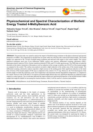 Biofield Treatment Impact on Properties of 4-Methylbenzoic Acid