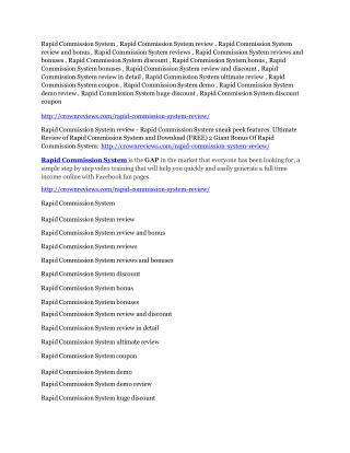 Rapid Commission System Reviews and Bonuses-- Rapid Commission System