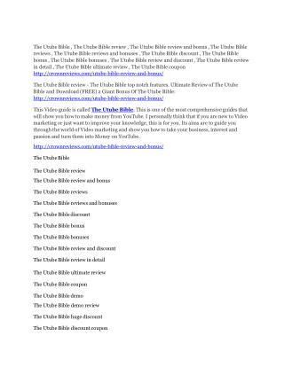 The Utube Bible review-$26,800 bonus & discount