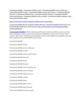 Commission Bubble reviews and bonuses Commission Bubble