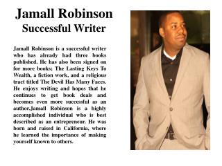 Jamall Robinson Successful Writer