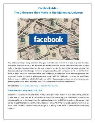 Facebook Ads � The Difference They Make In The Marketing Universe