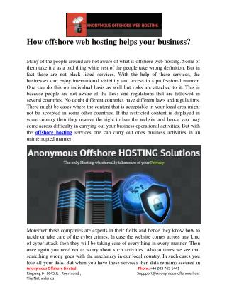 How offshore web hosting helps your business?