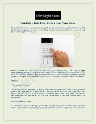 Everything to Know Before Buying a Home Alarm System - Coles Burglar Alarms