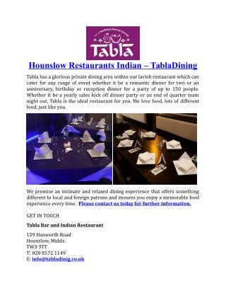 Hounslow Restaurants Indian TablaDining