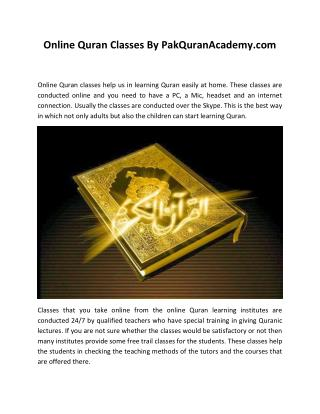 Online Quran Classes by Pak Quran Academy