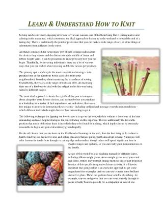 LEARN & UNDERSTAND HOW TO KNIT