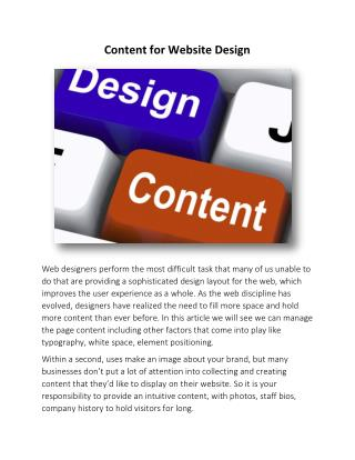 Content for Website Design | Web Development Toronto