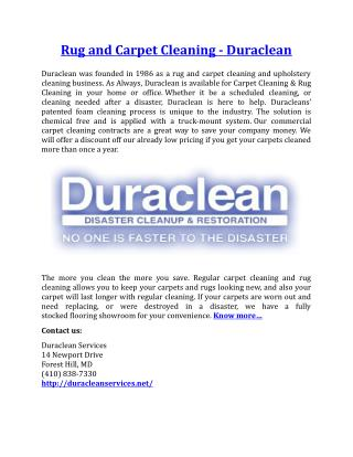 Rug and Carpet Cleaning Duraclean