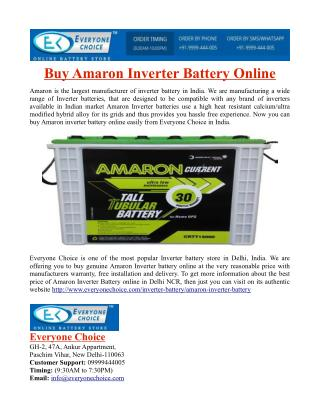 Buy Amaron Inverter Battery Online