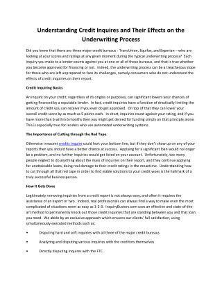 Understanding Credit Inquires and Their Effects on the Underwriting Process