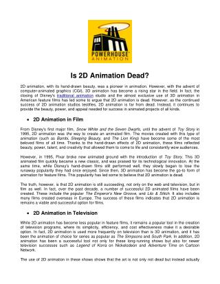 Is 2D Animation Dead?