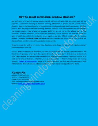 How to select commercial window cleaners?