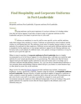 Find Hospitality and Corporate Uniforms in Fort-Lauderdale
