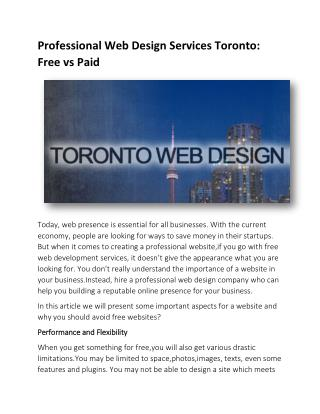 Professional Web Design Services Toronto: Free vs Paid
