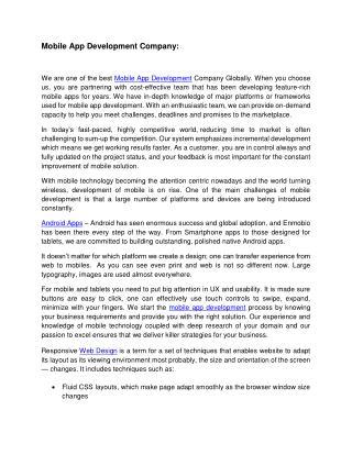 Mobile App Development Company | Mobile Application Development