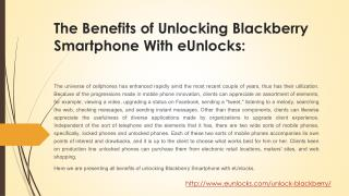 Benefits of Unlocking Blackberry Smartphone Services