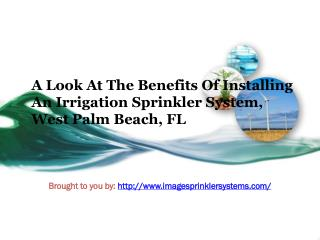 A Look At The Benefits Of Installing An Irrigation Sprinkler System, West Palm Beach, FL
