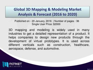 Global 3D Mapping & Modeling Market Share, Size, Forecast and Trends by 2020