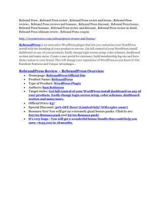 Rebrand Press review - Rebrand Press  100 bonus items