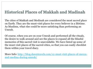 Historical Places in Makkah and Madinah