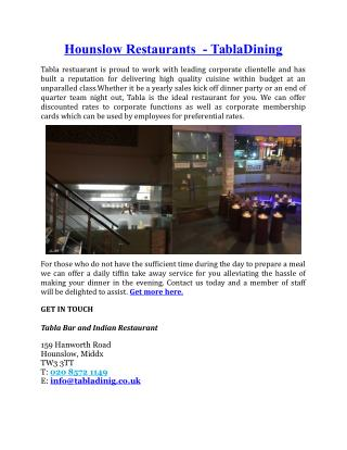 Hounslow Restaurants Tabla Dining
