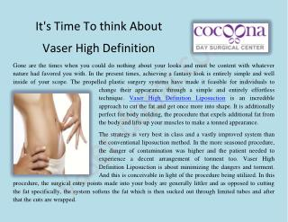 Vaser High Definition Lipo