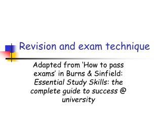 Revision and exam technique