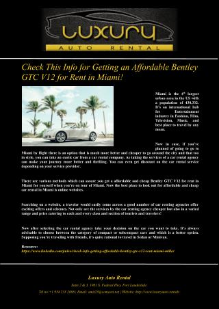 Check This Info for Getting an Affordable Bentley GTC V12 for Rent in Miami!