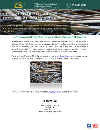 JK Recycling Offering Top Prices for Scrap Copper in Melbourne