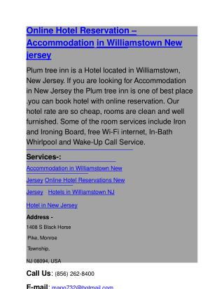 Online Hotel Reservation – Accommodation in Williamstown New jersey