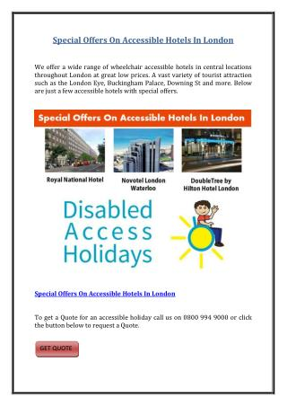 Special Offers On Accessible Hotels In London