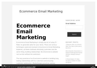 Why Use Ecommerce Email Marketing Mailchimp