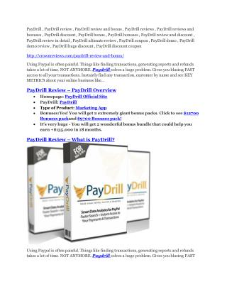 PayDrill review-- PayDrill $27,300 bonus & discount