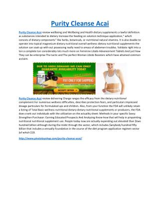 Purity Cleanse Acai Make You Slim And Lighter