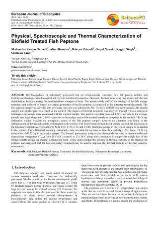 Physical, Spectroscopic and Thermal Characterization of Biofield Treated Fish Peptone