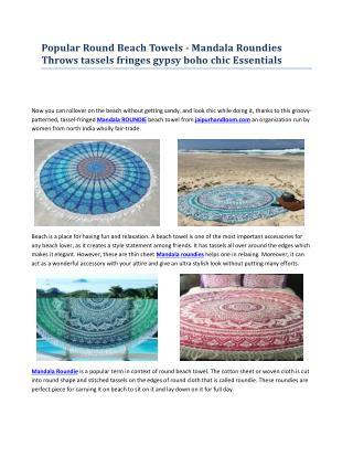 Popular Round Beach Towels - Mandala Roundies Throws tassels fringes gypsy boho chic Essentials