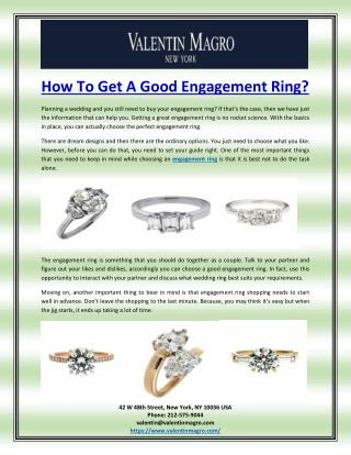 How To Get A Good Engagement Ring?