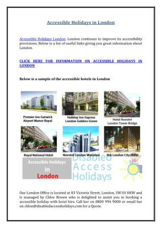 Accessible Holidays in London