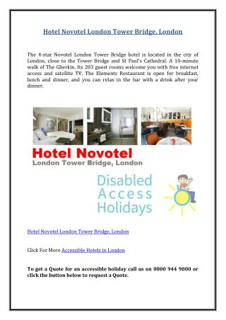 Hotel Novotel London Tower Bridge, London