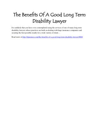 The Benefits Of A Good Long Term Disability Lawyer