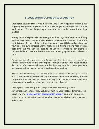St Louis Workers Compensation Attorney
