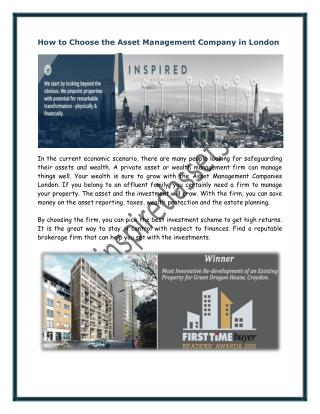 How to Choose the Asset Management Company in London