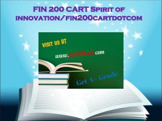 FIN 200 CART Spirit of innovation/fin200cartdotcom