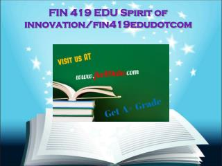 FIN 419 EDU Spirit of innovation/fin419edudotcom
