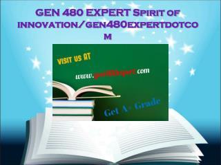 GEN 480 EXPERT Spirit of innovation/gen480expertdotcom
