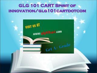 GLG 101 CART Spirit of innovation/glg101cartdotcom