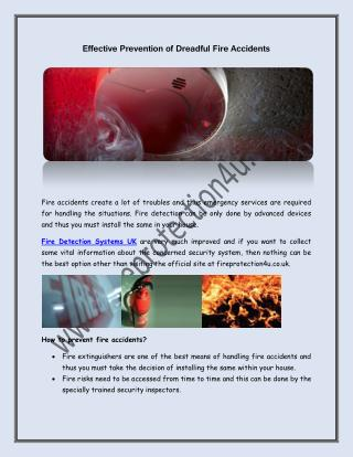 Effective Prevention of Dreadful Fire Accidents